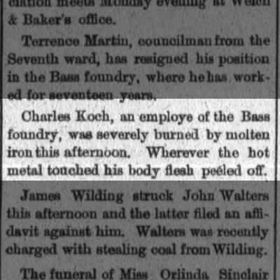 Charles D. Koch Sr. 1st Industrial Accident