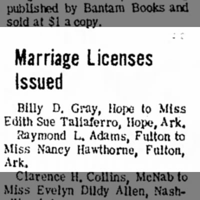 Nancy Hawthorne, Fulton, marriage to Billy D Gray, Hope, 6 Dec 1968,p9