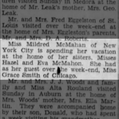 Mildred McMahan of New York City visits sisters