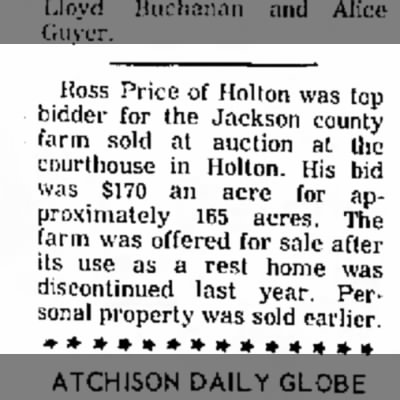 Sale of the county farm to Ross Price
