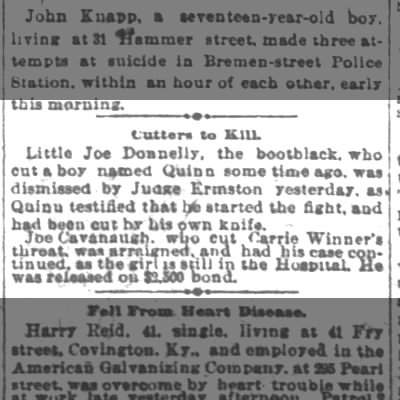 1890-09-30 Cavanuagh, Joe released on bail after cutting Carrie's throat