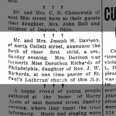 Dorothea `nee Richards Davison 30 Jul 1918 Lima News Lima,Ohio
