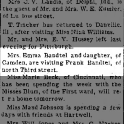 Emma Bandtel, The Journal News, Hamilton,OH Wed. Oct. 12, 1892 p.2