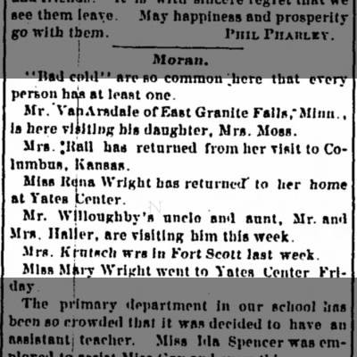 Mr Vanarsdale visiting daughter Mrs Moss - The Iola Register 13 Feb 1891 page 5