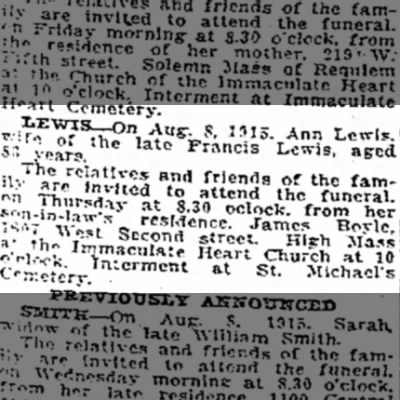 Ann McFadden Lewis Death