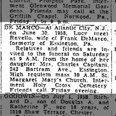 Lucy Revello DeMarco died June 30, 1958 obit