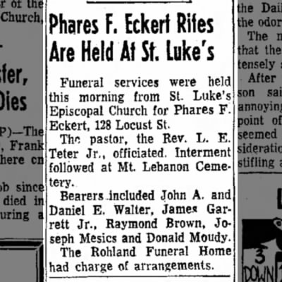 Funeral of Phares Eckert