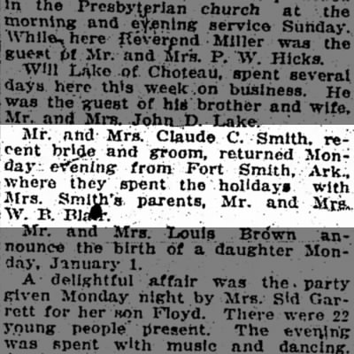 Fort Gibson OK-- Claude Smith and Beulah Blair spend Christmas 1922 in Ft. Smith