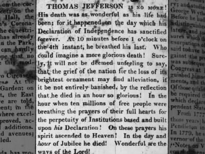Thomas Jefferson Death
