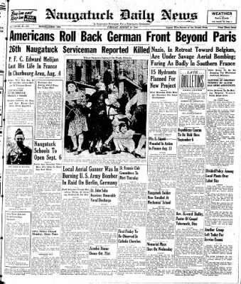 Naugatuck Daily News from Naugatuck, Connecticut on August 29, 1944 · Page 1