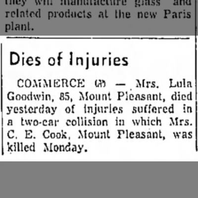Paris News (Paris,Texas) July 1, 1959 Lula Goodwin