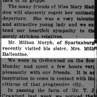 MURFF, Milton & Mrs. Mills BALLENTINE_19 March 1908_Spartanburg, South Carolina