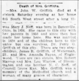 Mary Neff Griffith obit