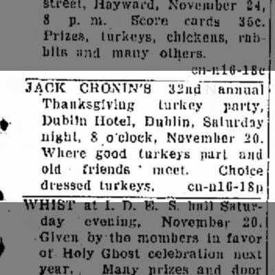 Jack Cronin's 32nd Annual Turkey Party, November 1943