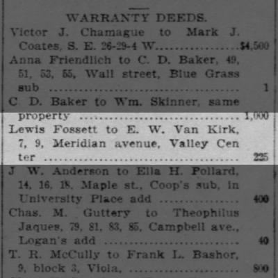 E W Van Kirk real estate transfer 1902