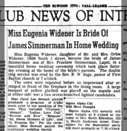 """Miss Eugenia Widener Is Bride Of James Simmerman In Home Wedding"" — ""Miss Eugenia Widener Is Brid"