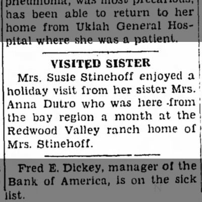1937 - Anna Collier Dutro from Bay area visits sister